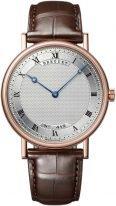 Мужские классические наручные часы Breguet Classique-5157BR_11_9V6 в розовом золоте, гильошированный циферблат, коричневая кожа кроко.