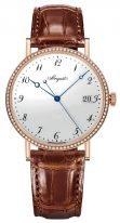 Женские классические наручные часы Breguet Classique-5178BR_29_9V6_D000 в розовом золоте с бриллиантовым рантом, с эмалевым циферблатом, коричневая кожа кроко.
