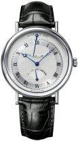 Мужские классические наручные часы Breguet Classique-5207BB_12_9V6 в белом золоте с гильошированным циферблатом, с запасом хода, черная кожа кроко.