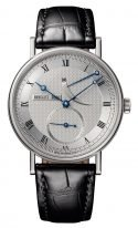 Мужские классические часы Breguet Classique 5277BB_12_9V6 в белом золоте с индикатором запаса хода, гильошированный циферблат, черная кожа кроко.
