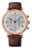 Мужские классические часы Breguet Classique-5287BR_12_9ZU хронограф в розовом золоте с гильошированным циферблатом, на коричневой коже кроко.