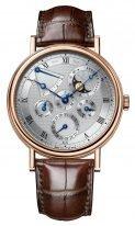 Мужские классические часы Breguet Classique 5327BR_1E_9V6 вечный календарь в розовом золоте, гильошированный циферблат, фазы Луны, коричневый ремешок кроко.