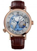 Мужские классические часы Breguet Classique 5717BR_EU_9ZU мировое время Hora Mundi в розовом золоте с изображением Европы и Африки, коричневая кроко.