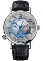 Мужские классические наручные часы Breguet Classique-5717PT_EU_9ZU мировое время Hora Mundi в платиновом корпусе, на циферблате контуры Европы и Африки, черная кожа кроко.
