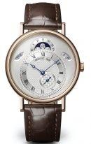 Мужские классические часы Breguet Classique 7337BR_15_9VU с календарем в розовом золоте, с гильошированным циферблатом, на коричневой коже кроко.