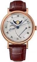 Мужские классические наручные часы Breguet Classique-7787BR_12_9V6 с лунным календарем в розовом золоте, гильошированный циферблат, коричневая кроко.
