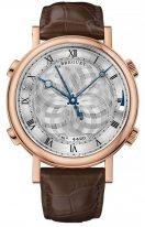 Мужские классические наручные часы Breguet Classique-7800BR_AA_9YV будильник с разными мелодиями в розовом золоте, с гильошированным циферблатом, на коже кроко.