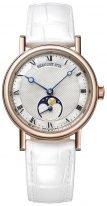 Женские классические часы Breguet Classique-9087BR_52_964 с фазами Луны в розовом золоте, перламутровый гильошированный циферблат, белая кожа кроко.