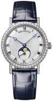 Женские классические часы Breguet Classique-9088BB_52_964_DD0D с фазой Луны в белом золоте с бриллиантовым рантом, с перламутровым и гильошированным циферблатом, на синей коже кроко.