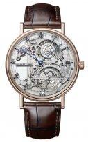 Мужские классические часы Breguet Grand Complications 5395BR_1S_9WU с турбийоном в розовом золоте со скелетированным гильошированным циферблатом, черный ремешок кроко.