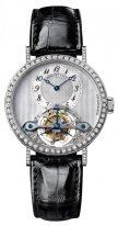 Женские классические часы Breguet Grand Complications 3358BB_52_986_DD00 турбийон в белом золоте с бриллиантовым рантом, циферблат перламутровый, ремешок черный кроко.