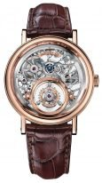 Мужские классические часы Breguet Grand Complications 5335BR_42_9W6 скелетированные часы Messidor с турбийоном в розовом золоте, на кожаном ремешке.
