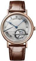 Мужские классические наручные часы Breguet Grand Complications-5377BR_12_9WU турбийон в розовом золоте, с посеребренным циферблатом, коричневая кожа кроко.