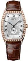Классические женские часы Breguet Heritage 3661BR_12_984_DD00 в розовом золоте с бриллиантовым рантом, гильошированный циферблат, коричневая кожа кроко.