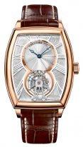 Мужские классические наручные часы в форме бочонка Breguet Heritage-5497BR_12_9V6 турбийон в розовом золоте, гильошированный циферблат, коричневая кожа кроко.
