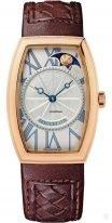"""Breguet Heritage-8860BR_11_386 женские классические часы в форме """"бочонка"""" с фазами Луны, гильошированный циферблат, коричневая кожа кроко."""