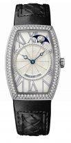 """Женские классические часы Breguet Heritage 8861BB_11_386_D000 в белом золоте с бриллиантовым рантом в форме """"бочонка"""", гильошированным циферблатом, черная кроко."""