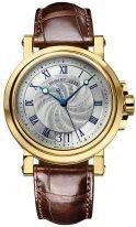 Мужские спортивные часы Breguet Marine-5817BA_12_9V8 в желтом золоте с большой датой, гильошированный циферблат, вороненые стрелки, коричневая кроко.