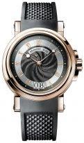 Мужские спортивные наручные часы Breguet Marine-5817BR_Z2_5V8 с большой датой в розовом золоте, гильошированный темный циферлат, черный каучук.