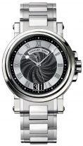 Мужские спортивные наручные часы Breguet Marine-5817ST_92_SM0 с большой датой в стальном корпусе, черный гильошированный циферблат, стальной браслет.