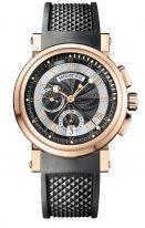 Мужские спортивные наручные часы Breguet Marine-5827BR_Z2_5ZU хронограф в розовом золоте с гильошированным циферблатом на черном каучуке, дополнительно идет кожаный ремешок.