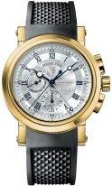 Мужские спортивные наручные часы Breguet Marine-5827BA_12_5ZU хронограф в желтом золоте, посеребренный циферблат, черный каучук и дополнительный ремешок кроко.