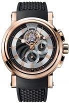Мужские спортивные наручные часы Breguet Marine-5837BR_92_5ZU турбийон с хронографом в розовом золоте, гильошированный циферблат, черный каучук.