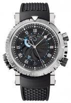 Мужские спортивные наручные часы Breguet Marine-5847BB_92_5ZV будильник в белом золоте, также индикатор запаса завода и режима будильника, черный каучук.