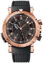 Мужские спортивные часы Breguet Marine-5847BR_Z2_5ZV будильник в розовом золоте, черный гильошированный циферблат, черный каучук.