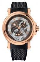 Мужские спортивные наручные часы Breguet Marine-5857BR_Z2_5ZU со временем второго часового пояса в розовом золоте, темный гильошированный циферблат, черный каучук