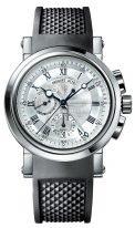 Мужские спортивные наручные часы Breguet Marine-5857ST_12_5ZU со временем второго часового пояса, гильошированный циферблат, черный каучук.