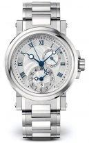 Мужские спортивные наручные часы Breguet Marine-5857ST_12_SZ0 со временем второго часового пояса в стальном корпусе, гильошированный циферблат, стальной браслет