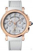 Женские спортивные наручные часы Breguet Marine-8827BR_52_586 хронограф в розовом золоте, перламутровый гильошированный циферблат, белый каучук.
