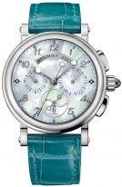 Женские спортивные наручные часы Breguet Marine-8827ST_5W_986 хронограф в стальном корпусе, перламутровый циферблат, бирюзовая кроко