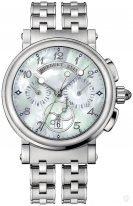 Женские спортивные наручные часы Breguet Marine-8827ST_5W_SM0 хронограф с перламутровым гильошированным циферблатом, стальной браслет.