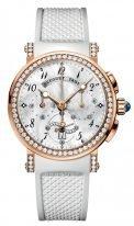 Женские спортивные наручные часы Breguet Marine-8828BR_5D_586_DD00 хронограф в розовом золоте с бриллиантовым рантом, перламутровым циферблатом, белым каучуком.