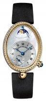 Женские классические овальные часы Breguet Reine de Naples -8908BA_52_864_D00D в желтом золоте с бриллиантовым рантом, перламутровый гильошированный циферблат, сатиновый ремешок.