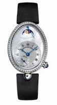 Женские классические овальные часы Breguet Reine de Naples -8908BB_52_864_D00D в белом золоте с бриллиантовым рантом, гильошированный перламутровый циферблат, сатиновый ремешок.