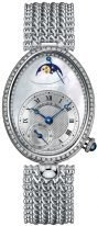 Женские классические овальные часы Breguet Reine de Naples -8908BB_52_J20_D000 в белом золоте с бриллиантовым рантом, перламутровый гильошированный циферблат, браслет из белого золота.