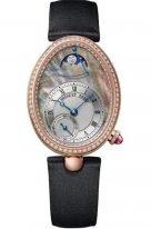 Женские классические овальные часы Breguet Reine de Naples -8908BR_5T_864_D00D в розовом золоте с бриллиантовым рантом и гильошированным циферблатом, на сатиновом ремешке.