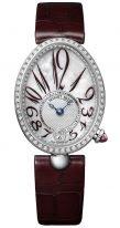 Женские классические часы Breguet Reine de Naples 8918BB_5P_964_D00D в белом золоте с бриллиантовым рантом, арабские вытянутые цифры на перламутровом циферблате, ремешок кроко.
