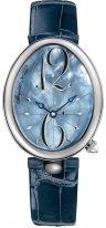 Женские классические овальные часы Breguet Reine de Naples -8967ST_V8_986 в стальном корпусе, перламутровый циферблат, кожаный ремешок.