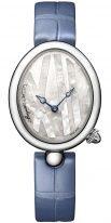 Женские классические овальные часы Breguet Reine de Naples -9807ST_5W_922 стальной корпус с перламутровым циферблатом, кожаный голубой ремешок.