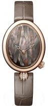 Женские классические овальные часы Breguet Reine de Naples -9808BR_5T_922_0D00 в розовом золоте с декоративным бриллиантовым элементом, темный перламутровый циферблат, кожаный ремешок.