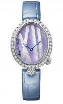 Женские классические овальные часы Breguet Reine de Naples -9818BB_5V_922_DD0D в белом золоте с бриллиантовым рантом, перламутровый фиолетовый циферблат, кожаный ремешок.