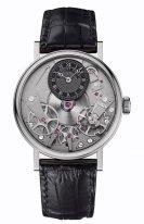 Мужские классические наручные часы Breguet Tradition-7027BB_G9_9V6 в белом золоте с серым циферблатом, с индикатором запаса хода, на черном ремешке кроко.
