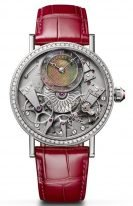 Женские классические наручные часы Breguet Tradition-7038BB_1T_9V6_D00D в белом золоте с бриллиантовым рантом, перламутровым и гильошированным смещенным циферблатом, на розовой коже кроко.
