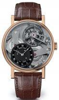 Мужские классические часы Breguet Tradition 7047BR_G9_9ZU в розовом золоте с турбийоном, со смещенным черным циферблатом, на кожаном коричневом ремешке.