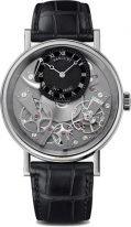 Мужские классические часы Breguet Tradition 7057BB_G9_9W6 в белом золоте с запасом хода, со смещенным черным циферблатом, римскими цифрами, браслет черный кроко.