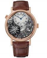 Мужские классические наручные часы Breguet Tradition-7067BR_G1_9W6 в розовом золоте со смещенным гильошированным циферблатом, временем второго часового пояса, на кожаном ремешке.